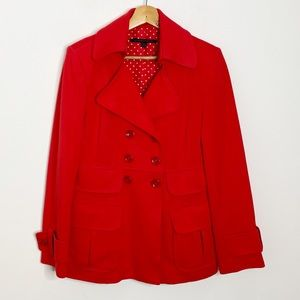 Katherine Barclay Red Double Breasted Pea Coat